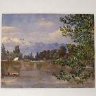 Aquarelle ancienne paysage bord de lac montagne bateau couvert début XXème