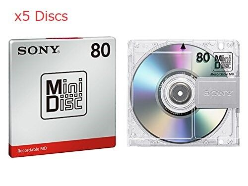 New 5 Sony MD80 Blank Mini Disc 80 Minutes Recordable MD Japan Genuine ●W Track
