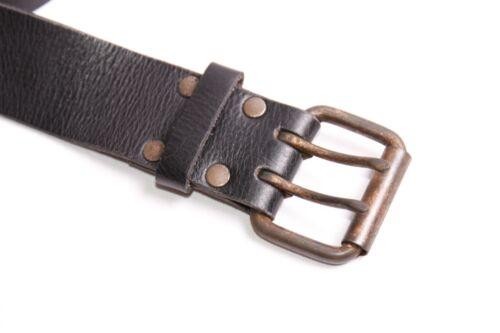 Gorgeous Male Style Women Dark Brown Belt w Copper Double Pin Buckle S393