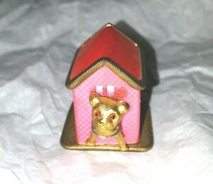 PINK-DOG-HOUSE-with-little-gold-dog-TAPE-MEASURE-ANTIQUE-NOVELTY