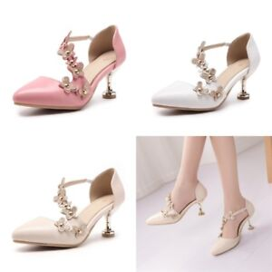 EUR-Size-35-45-Womens-Floral-Kitten-Heels-Fashion-Pointed-Toe-Pumps-Casual-Shoes