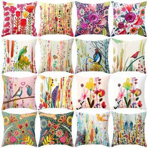Oil-Painting-Flower-Bird-Throw-Pillow-Case-Cushion-Cover-Home-Cafe-Car-Decor