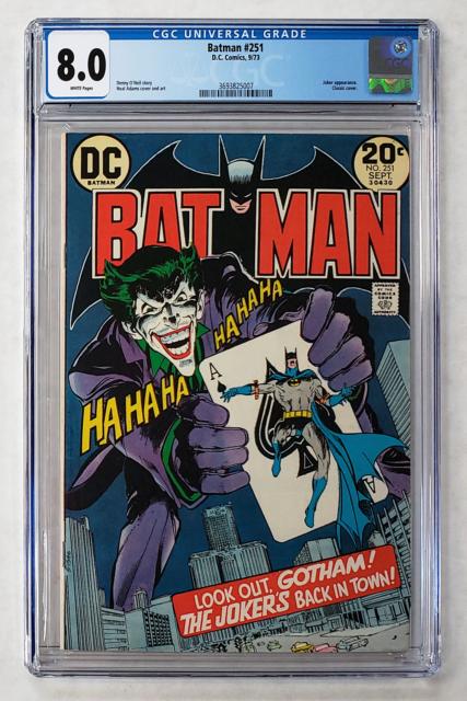 BATMAN #251 CGC 8.0 CLASSIC JOKER COVER NEAL ADAMS 1973