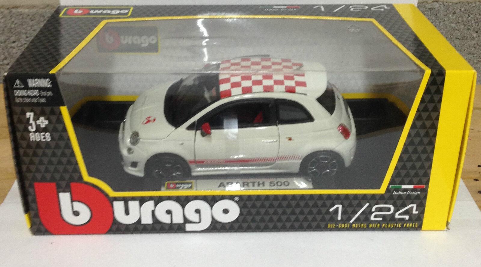 BURAGO 1 24 FIAT 500 ABARTH Modello Diecast Auto Bianco