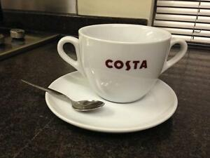 Image Is Loading Costa Coffee Large Cup Double Handle With Saucer