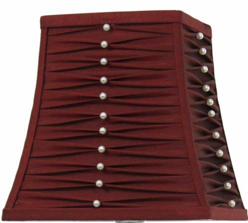 Carré Perles plissé Abat-jour Living Chambre à Coucher Lumière Décor Rouge 10 in environ 25.40 cm