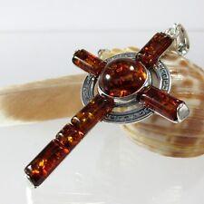 A024 Amber Bernstein Kreuz Anhänger 925 Silber Schmuck Mäander Ornament Gr.XL