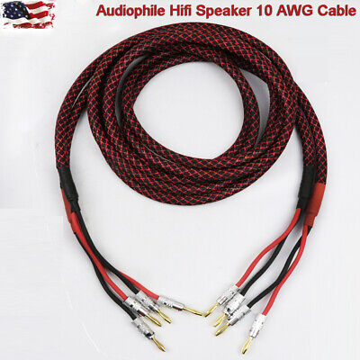 New Audiophile Hiend Hifi Banana Plug Speaker Cable Oxygen-free copper Wire  US
