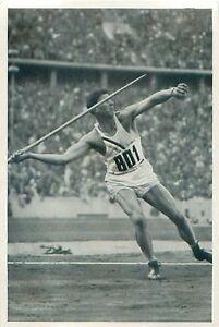"""64 Glenn Morris USA Decathlon Javelin throw Athletics OLYMPIC GAMES 1936 CARD - France - État : Occasion : Objet ayant été utilisé. Consulter la description du vendeur pour avoir plus de détails sur les éventuelles imperfections. Commentaires du vendeur : """"FORMAT: 12 CM X 8 CM / SIZE: 4.72"""" x 3.14"""" INCH"""" - France"""