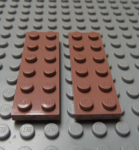 LEGO Sand Red Plate 2x6 Lot of Two
