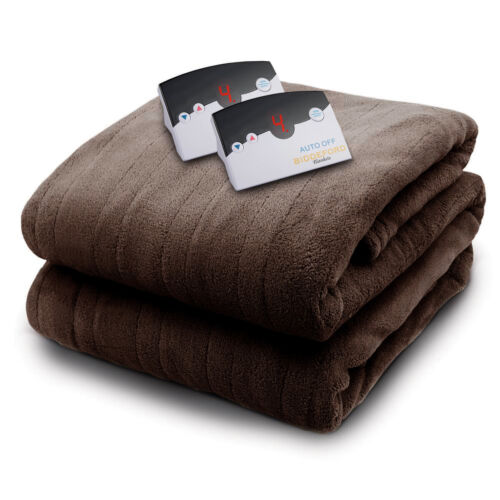 Biddeford MicroPlush Queen Electric Blanket with Dual Controllers, Chocolate