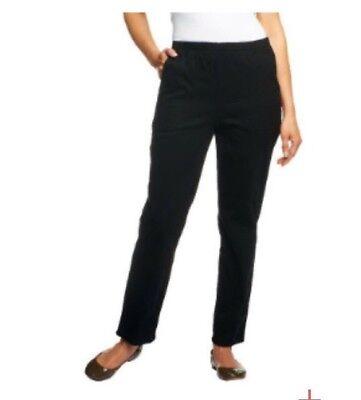 Denim /& Co Orig Waist Stretch Pants Side Pockets Straight White XL NEW A53351