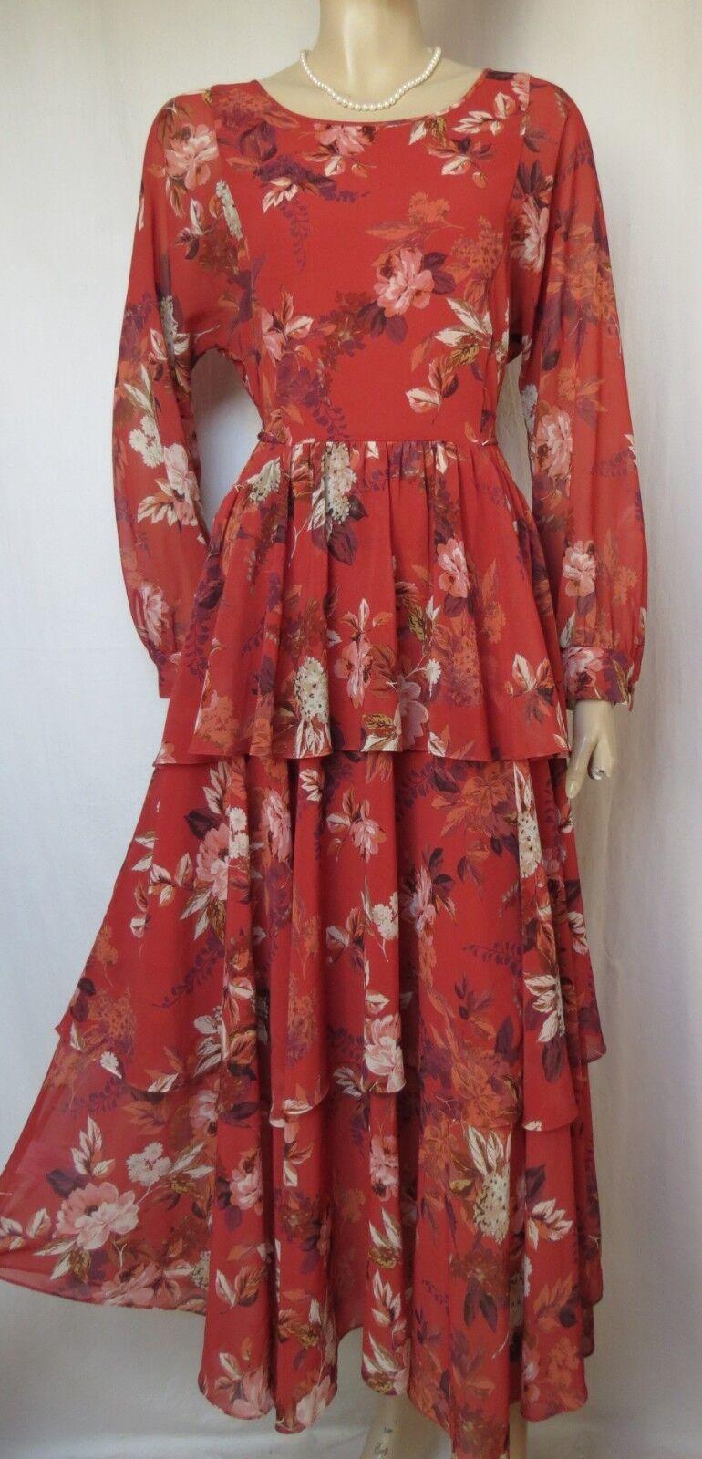 b4fe3675afd159 Laura Ashley 38 braun Blaumen Volants Rüschen Stufen romantisch boho Kleid  Orange nqcpqx5566-neue Kleidung