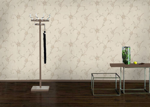 CIPRIANI BEIGE CREAM FLORAL TRAIL LUXURY HEAVYWEGHT VINYL WALLPAPER RASCH 495669