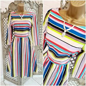 Henry Holland 💋 Candy Stripe Cut Out Bow Back Fit & Flare Dress UK 10 Summer