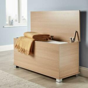 Pleasant Details About Ottoman Storage Box Large Chest Bedding Toy Wooden Oak Seat Bedroom Furniture Machost Co Dining Chair Design Ideas Machostcouk