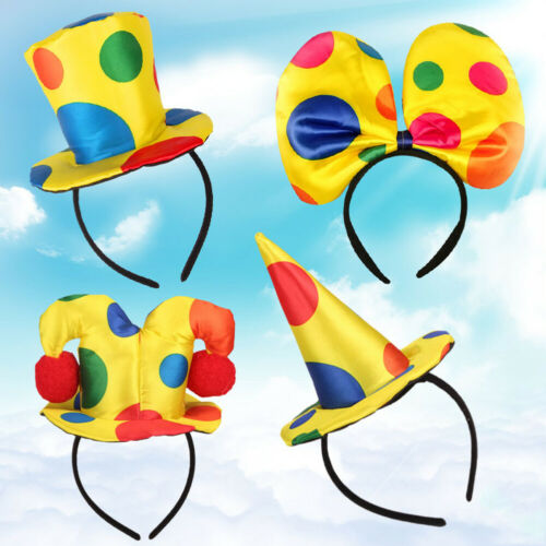 Polka Dot Clown Hat Headband Hair Hoop Circus Jester Fancy Dress Costume Prop AT