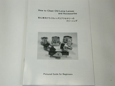 How to Clean Old Leica Lenses and Accessories Manual, Elmar Summaron Summicron