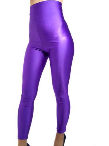 MADAME FANTASY HIGH WAISTED PURPLE SHINY SPANDEX LEGGINGS XS-XXXL Tall