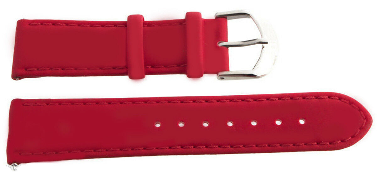 Image 3 - Jacob & Co. 20mm Red Polyurethane Rubber Band Strap with Silver tone Clasp Watch