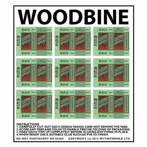 Casa de muñecas en miniatura de hoja de 9 cajas Woodbine
