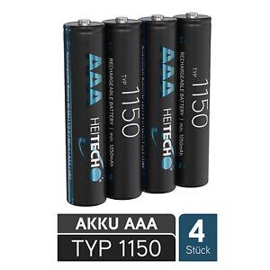 4x Akkus AAA Micro HR03 Ni-Mh Typ 1150 1050 mAh 1,2 Volt, 4 Stück Heitech