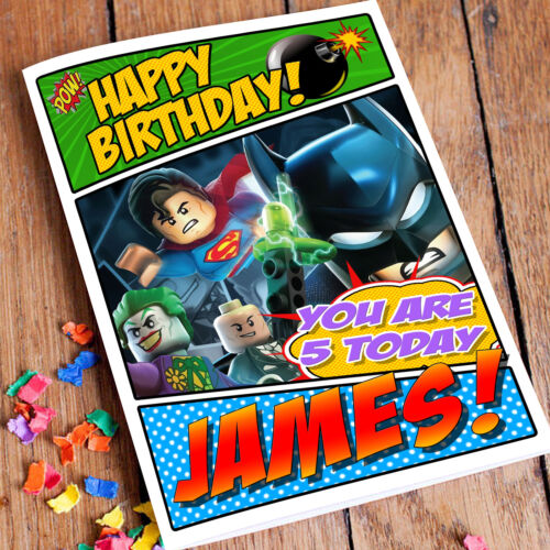 Extra Large Batman Movie Personalised A4 Birthday Card Lego