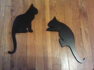 Image Is Loading Any Color 2 Wooden Door Resters Cat Silhouettes