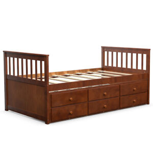 Twin-Captain-s-Bed-Bunk-Bed-Alternative-w-Trundle-amp-Drawers-for-Kids-Walnut