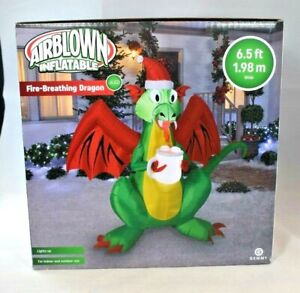 Gemmy-6-5-ft-LED-Fire-Breathing-Dragon-w-Hot-Chocolate-Mug-Airblown-Inflatable