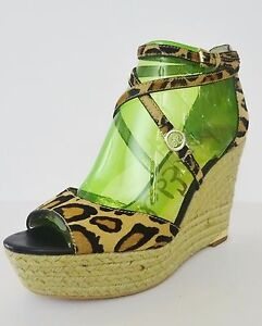 cf52f989fb7 Details about NIB Sam Edelman Turner Espadrille Wedge Calf Hair Sandal 9.5  M Brown Print $150
