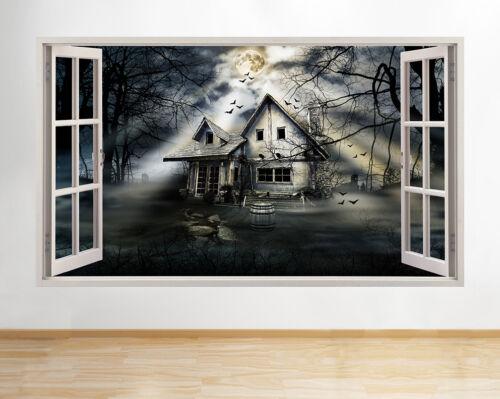 Pegatinas de Pared Calcomanía de Halloween de casa perseguido Gótico Sala de Vinilo Arte Cartel 3D A173