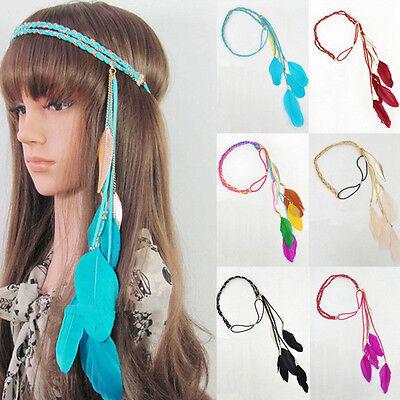Women Indian Peacock Feather Tassels Weave Headdress Hippie Headband Gift Extens