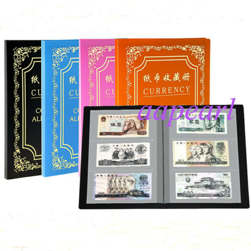 120pockets 20Pages Double Sided Album Banknotes Bills Collections blue color