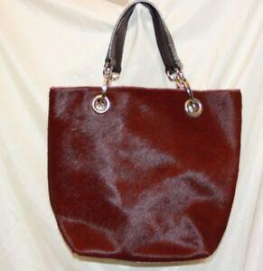 Image Is Loading Maurizio Taiuti Leather Calf Hair Handbag Tote Burgundy