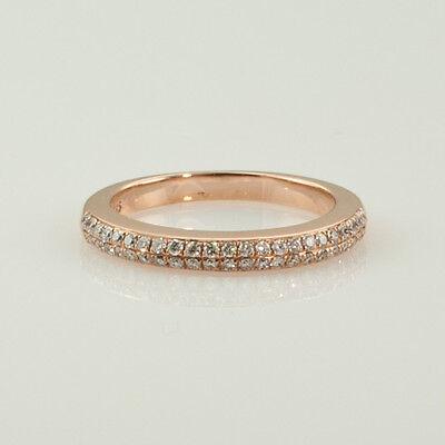 WEDDING & ANNIVERSARY RING 0.65 CT. HALF BAND DIAMONDS 14K ROSE GOLD size 6.5