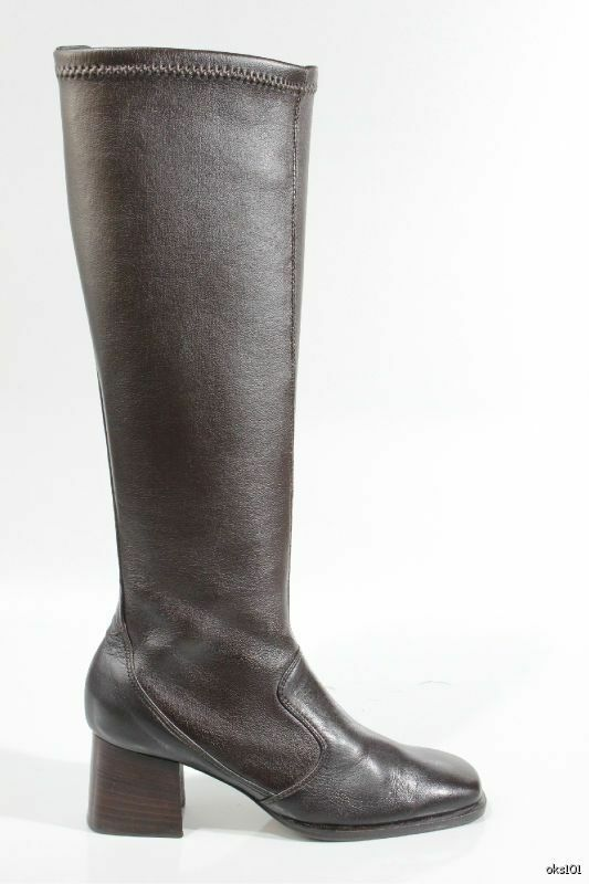 new 485 PREVATA brown nappa leather stretch pull-on BOOTS made in Italy 9.5