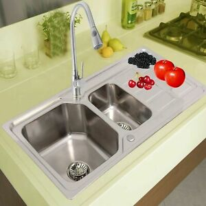 1 5 Double Bowl Kitchen Sink Stainless Steel Corrosion Resistant Dual Sink Basin Ebay