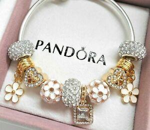 Authentic Pandora Silver Charm Bracelet With GOLD Heart European ...