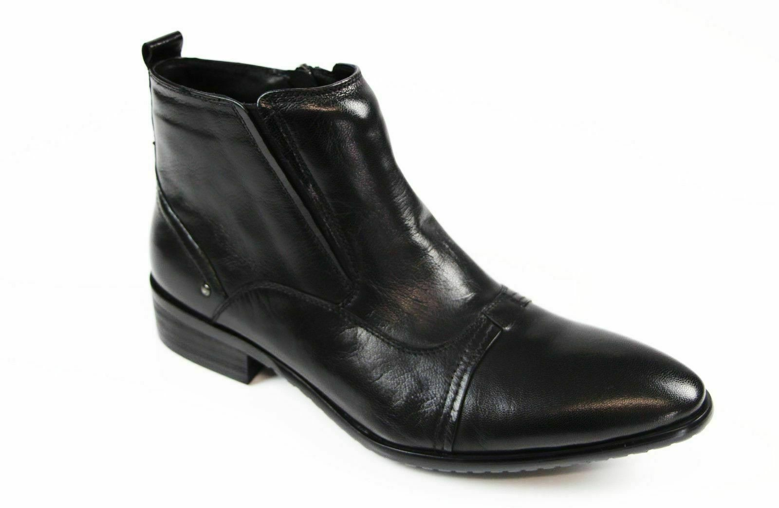 Mens Zasel Cannon Black Formal Casual Leather Zip Shoes Formal Dress Boots