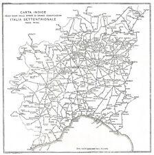 D0115 Strade grande comunicazione Nord Italia - Carta geografica - 1930 old map