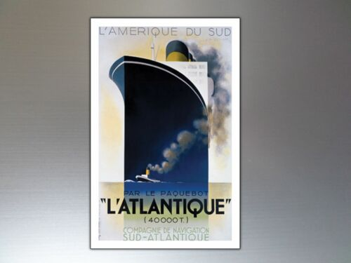 Fridge magnets Vintage Retro Atlantic Liner Ship Fridge Magnets ArtDeco set of 9
