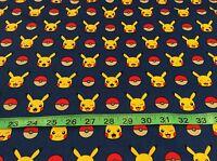 Robert Kaufman Pokemon Go Fabric. Pikachu, Pokeball Bt Half Yard, Blue