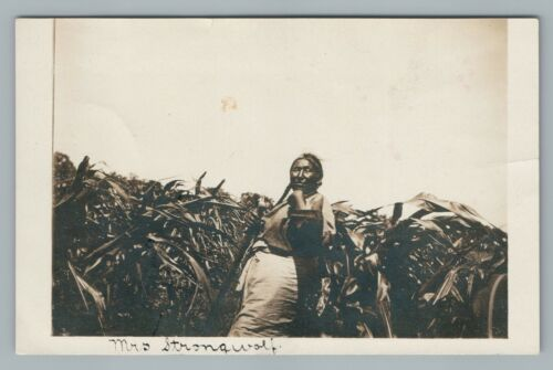 """Mrs. Strongwolf"" Ojibway Indian? Corn Field Photo—Rare Antique Native American"