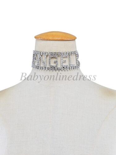 Nouveau Collier Bijoux Statement Bib Pendentif lettre strass chaîne Choker Chunky