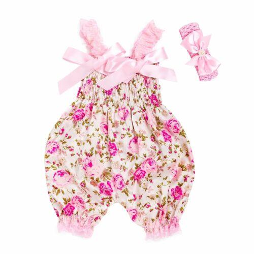 UK Newborn Baby Girl Boho Floral Harem Romper Jumpsuit Pants Summer Outfit