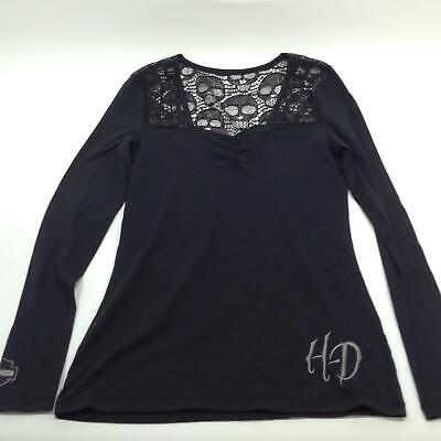 NEW Harley Womens Dark Scroll Crochet Applique Foil Grey Long Sleeve S M L XL