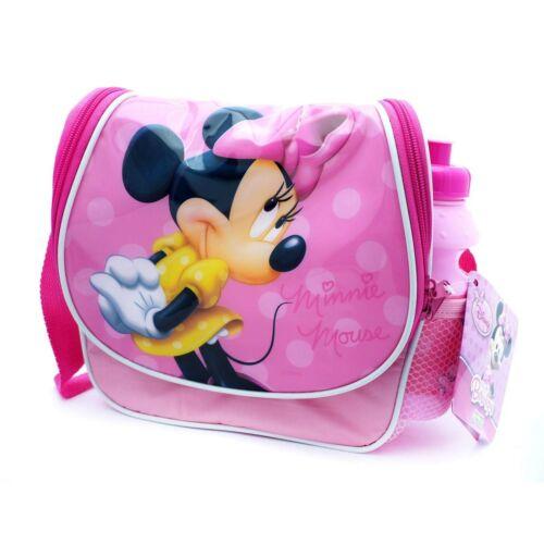 DISNEY Minnie Mouse Borsa da Pranzo Rosa con succo di Plastica Riutilizzabile Bottiglia