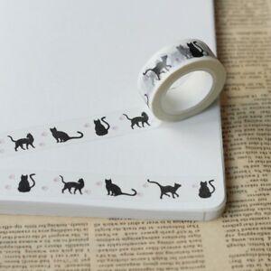 Schwarze-Katze-Washi-Masking-Tapes-Klebeband-Klebebaender-Papier-Dekor-Stickers