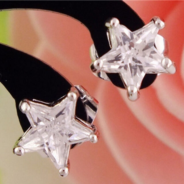 Good 1pair Silver Nice Star Cubic Zirconia  Charming Stud Earrings